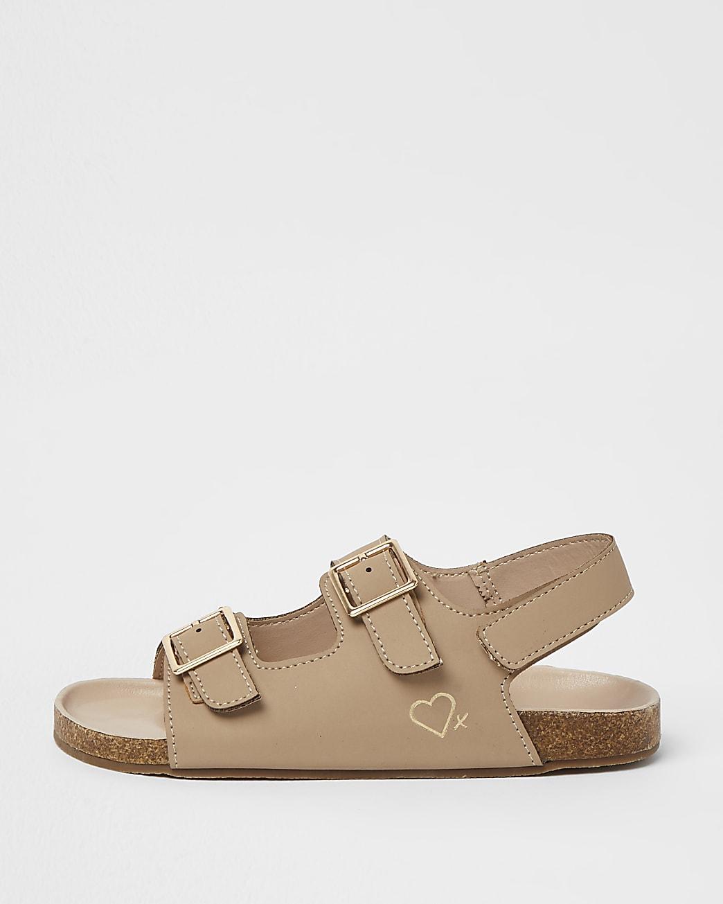 Girls brown nubuck two strap sandals