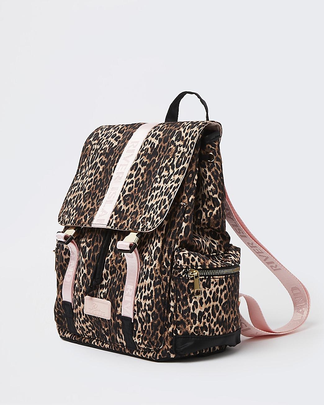 Girls brown nylon leopard utility bag