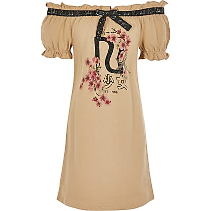 Girls brown printed bardot T-shirt dress