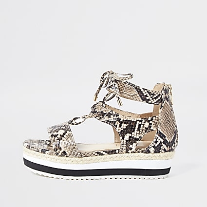 Girls brown pu snake print tie sandals