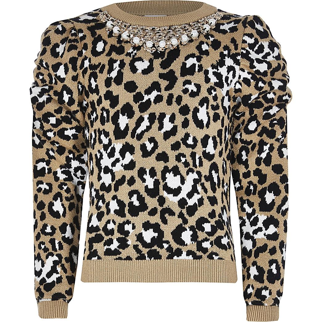 Girls brown puff sleeve necklace jumper