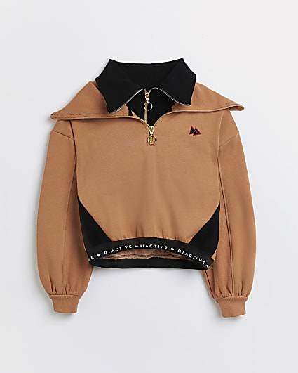 Girls brown RI Active funnel sweatshirt
