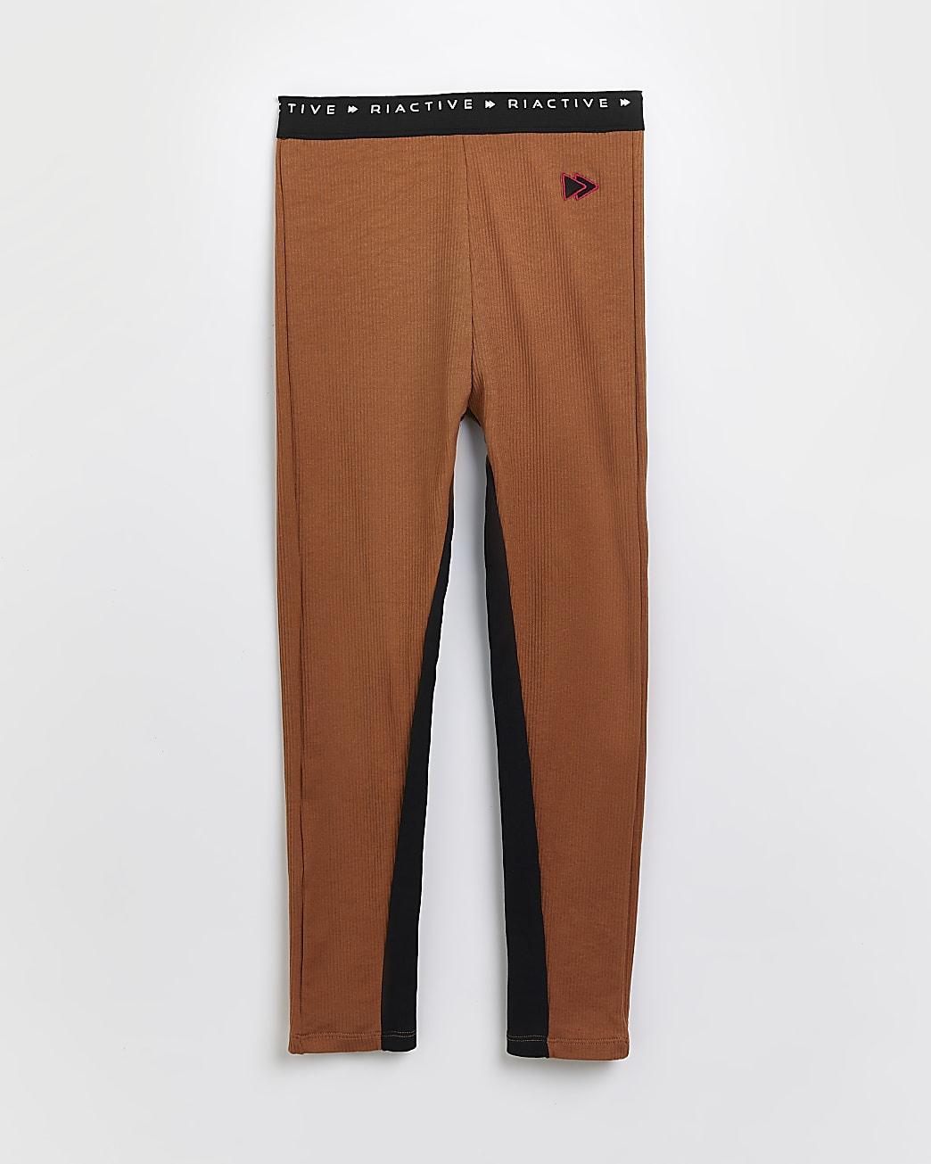Girls brown RI Active rib leggings
