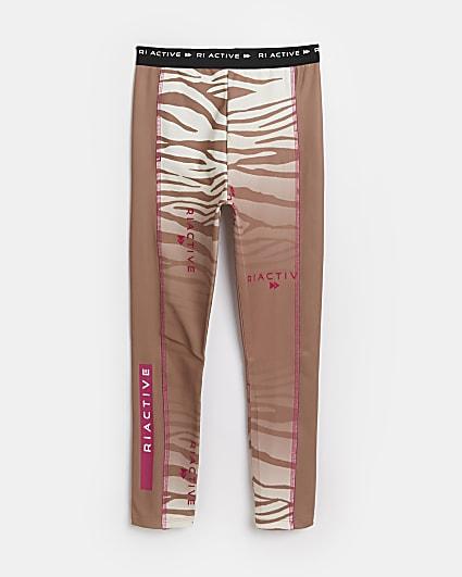Girls brown RI Active zebra print leggings