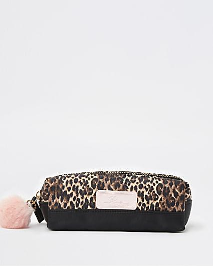 Girls brown RI animal print pencil case