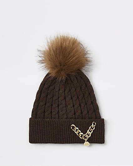 Girls brown RI chain beanie hat