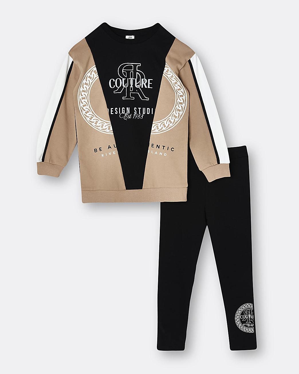 Girls brown RI chain sweatshirt and leggings