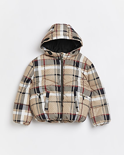 Girls brown RI check print puffer coat