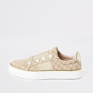 Bruine jacquard sneakers met RI-print en parels voor meisjes