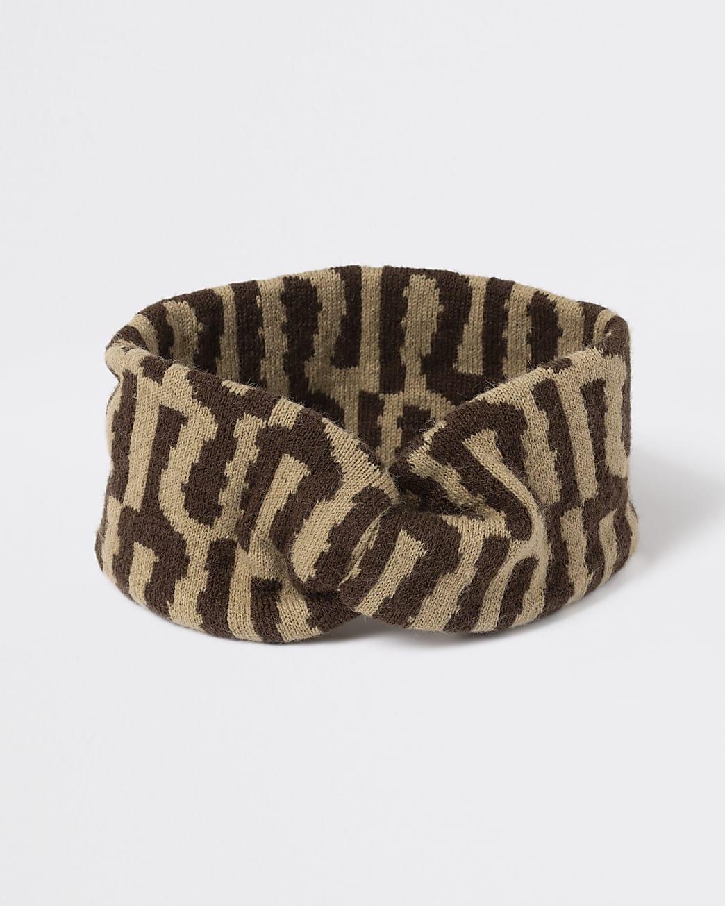 Girls brown RI knitted bandeau