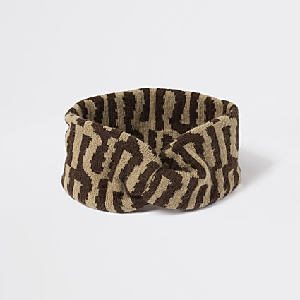 Girls brown RI knitted bandeau