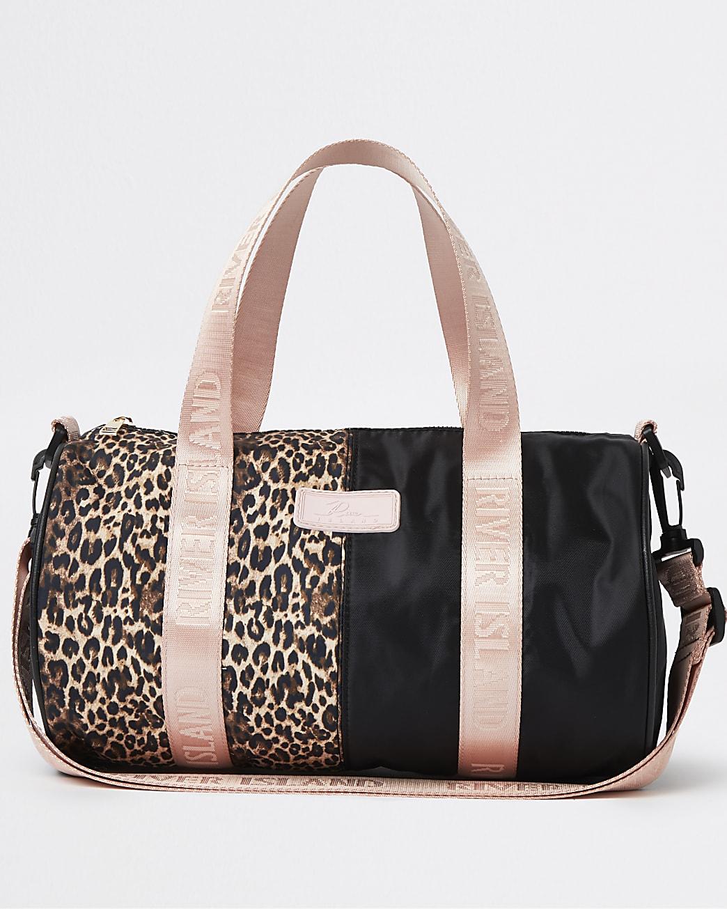 Girls brown RI leopard print holdall bag