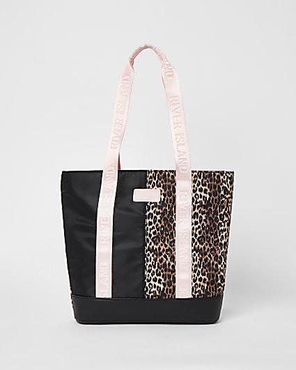 Girls brown RI leopard print shopper bag