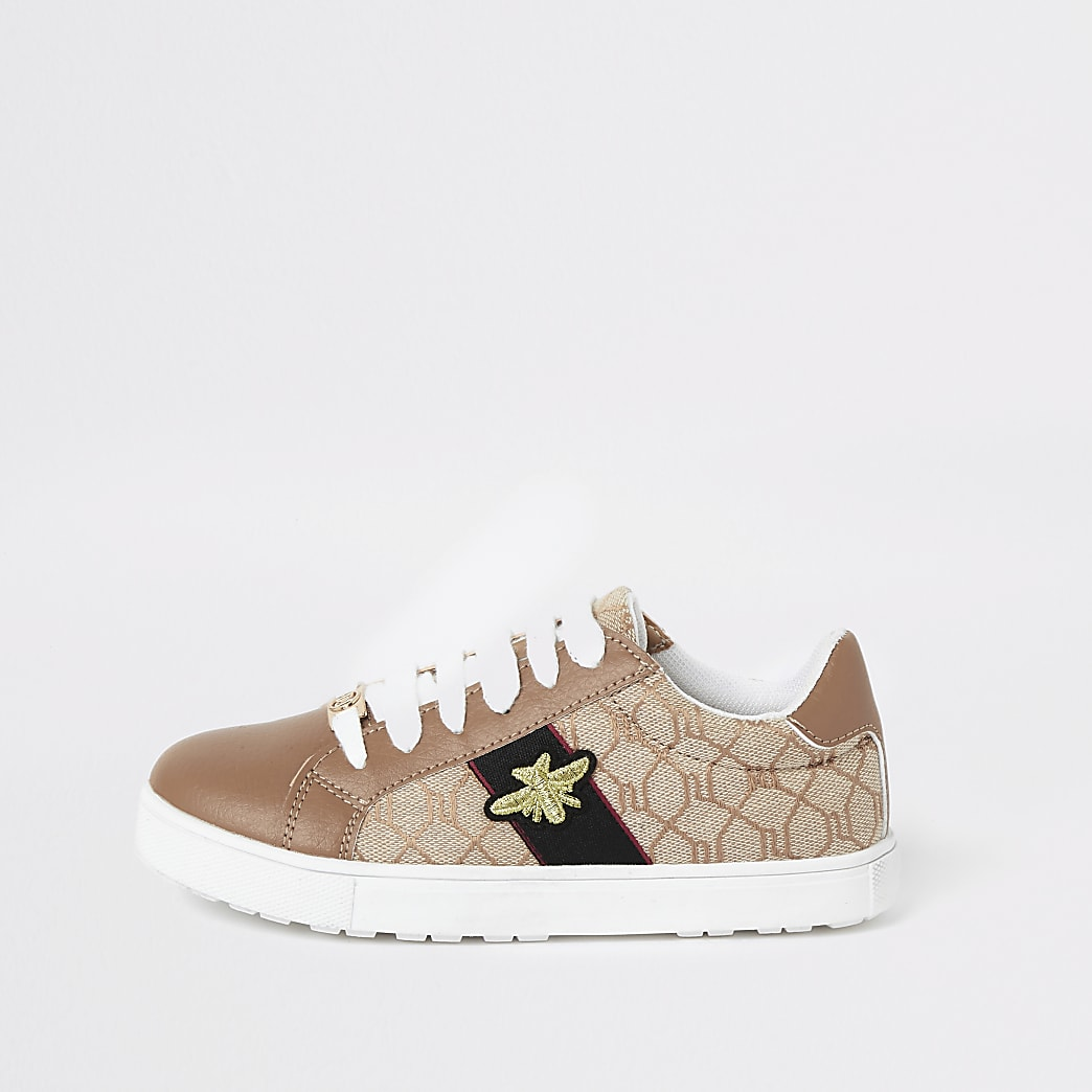 Girls brown RI monogram bee trainers