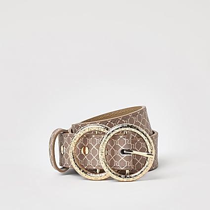 Girls brown RI monogram belt