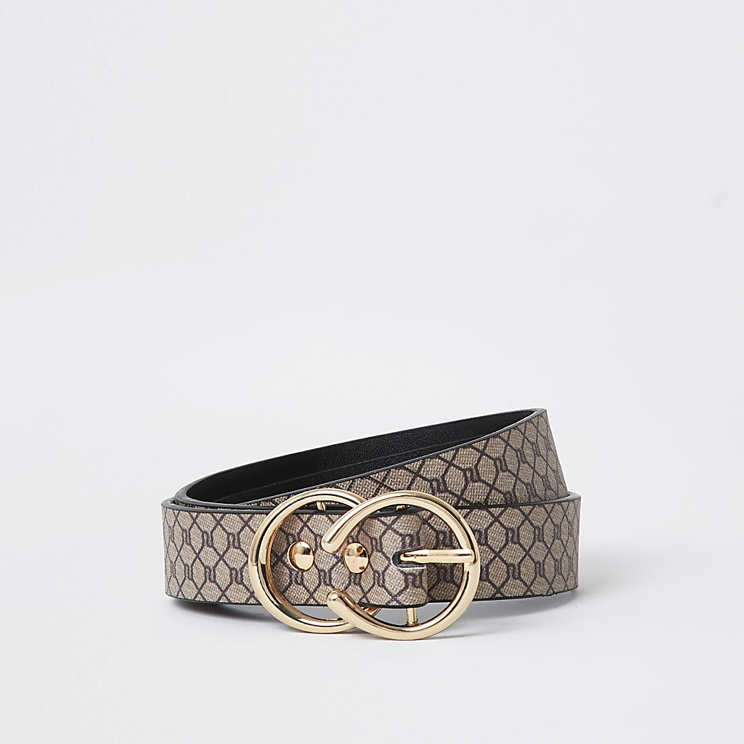 Girls brown RI monogram belt