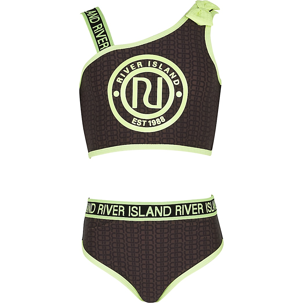 Girls brown RI monogram bikini set