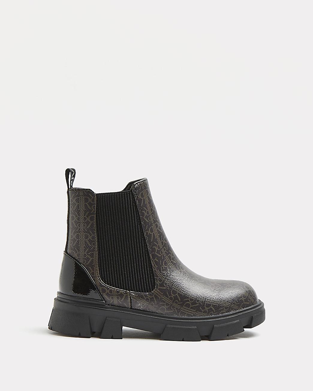 Girls brown RI monogram chelsea boots