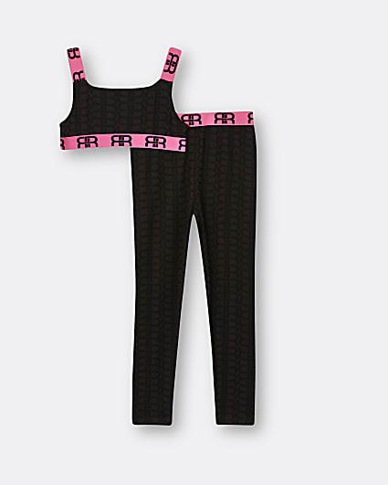 Girls brown RI monogram crop top and leggings