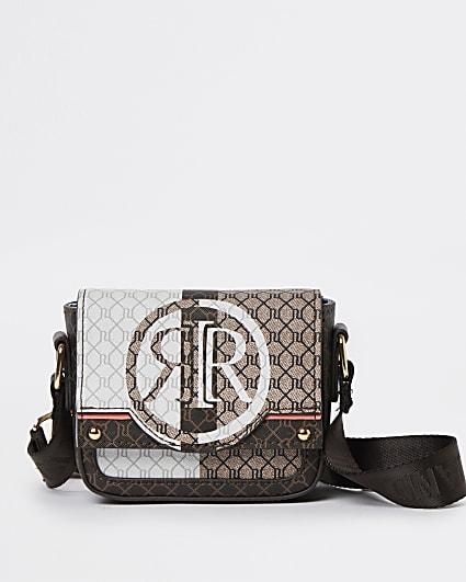 Girls brown RI monogram cross body bag