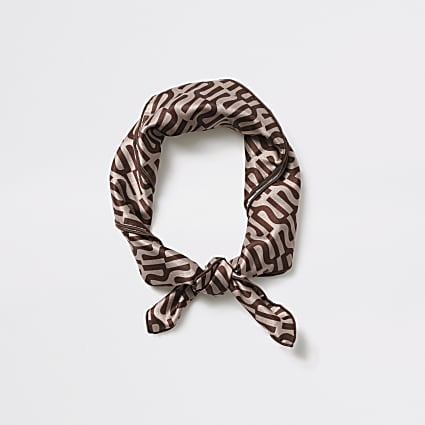 Girls brown RI monogram headscarf