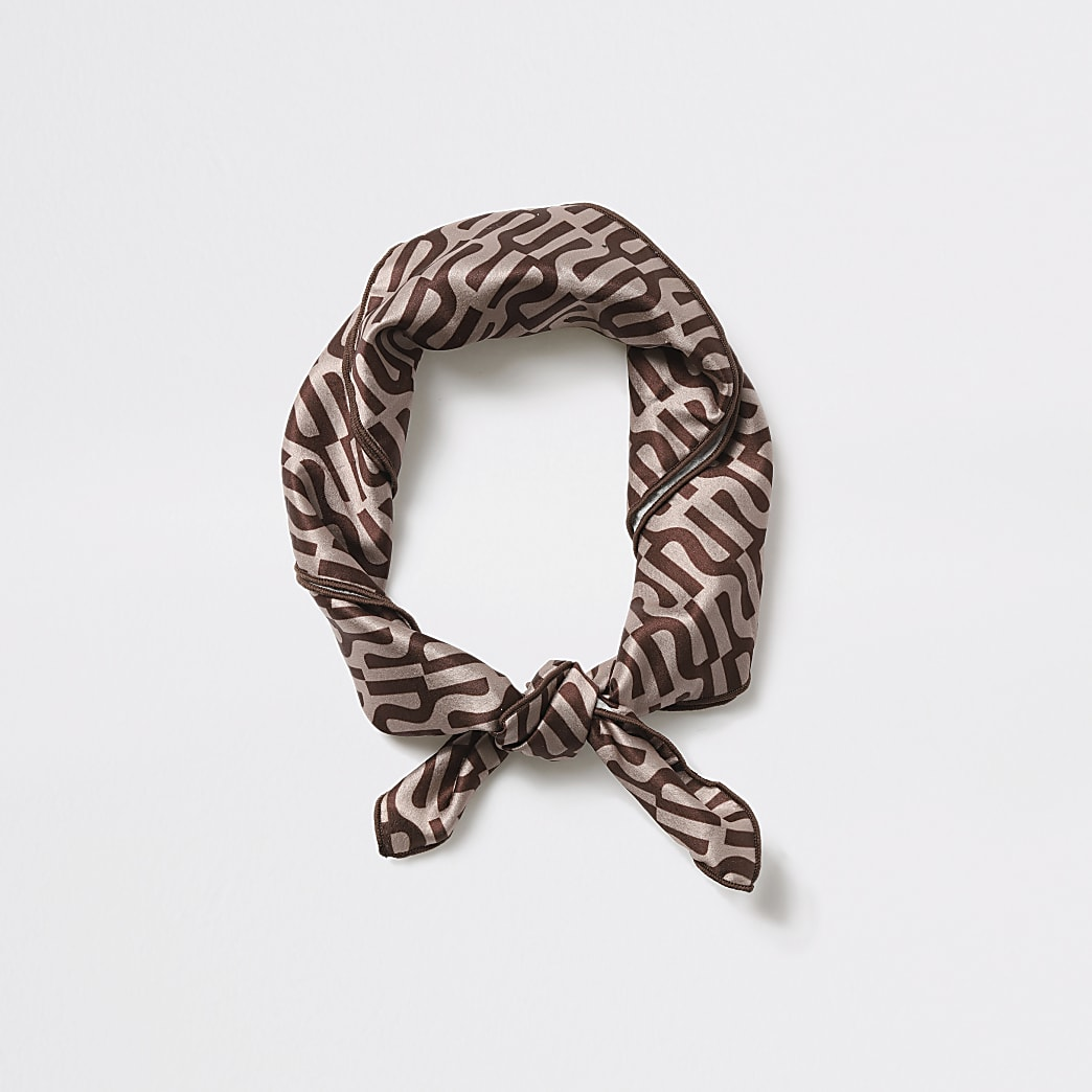 Girls brown RI monogram headscarf
