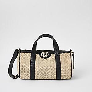 Girls brown RI monogram holdall bag