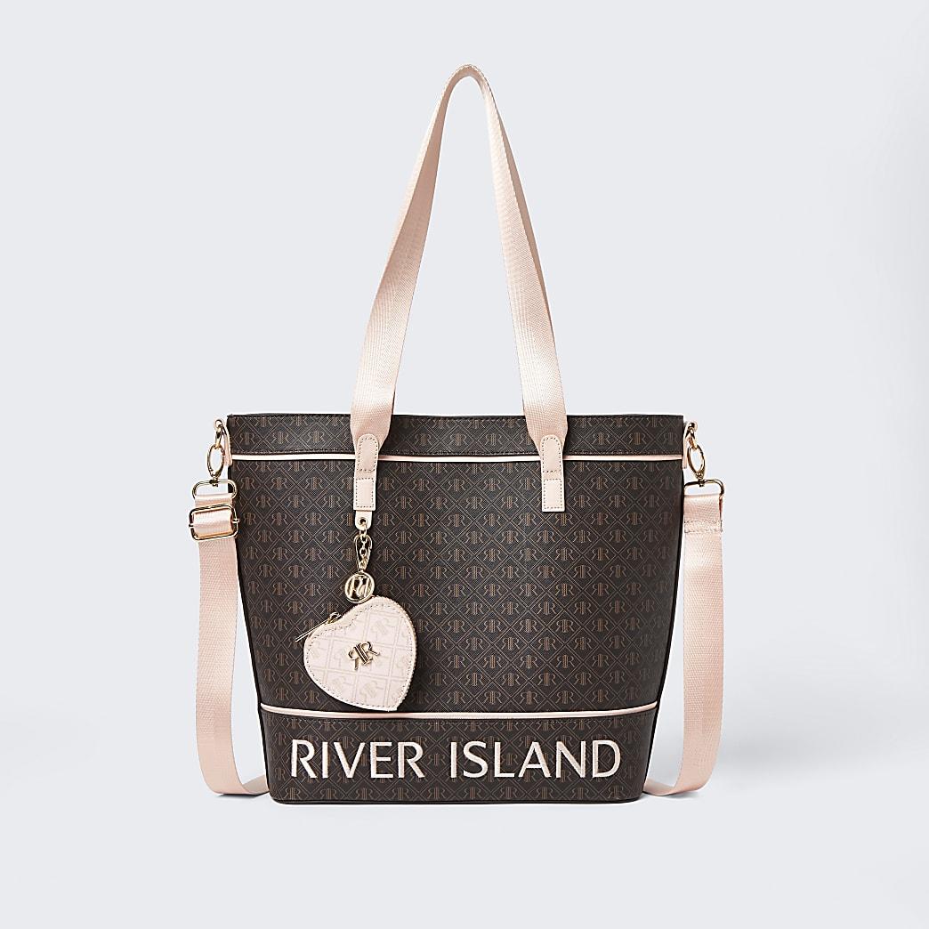 Girls brown RI monogram shopper bag