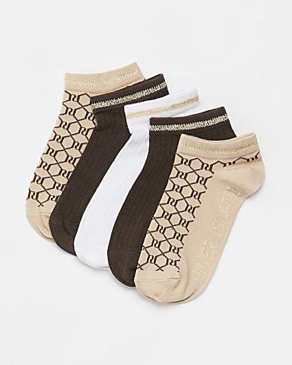 Girls brown RI monogram socks 5 pack