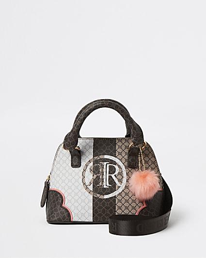 Girls brown RI monogram tote bag