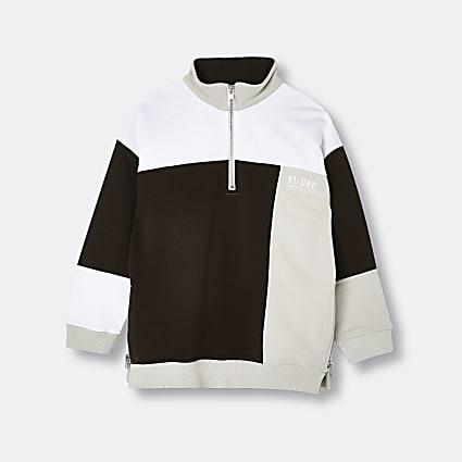 Girls brown RI ONE colour block sweatshirt