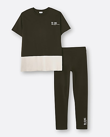 Girls brown RI ONE t-shirt and legging set