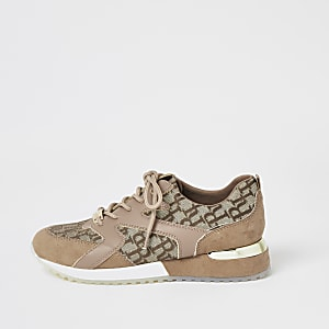Girls brown RI panelled lace-up trainers