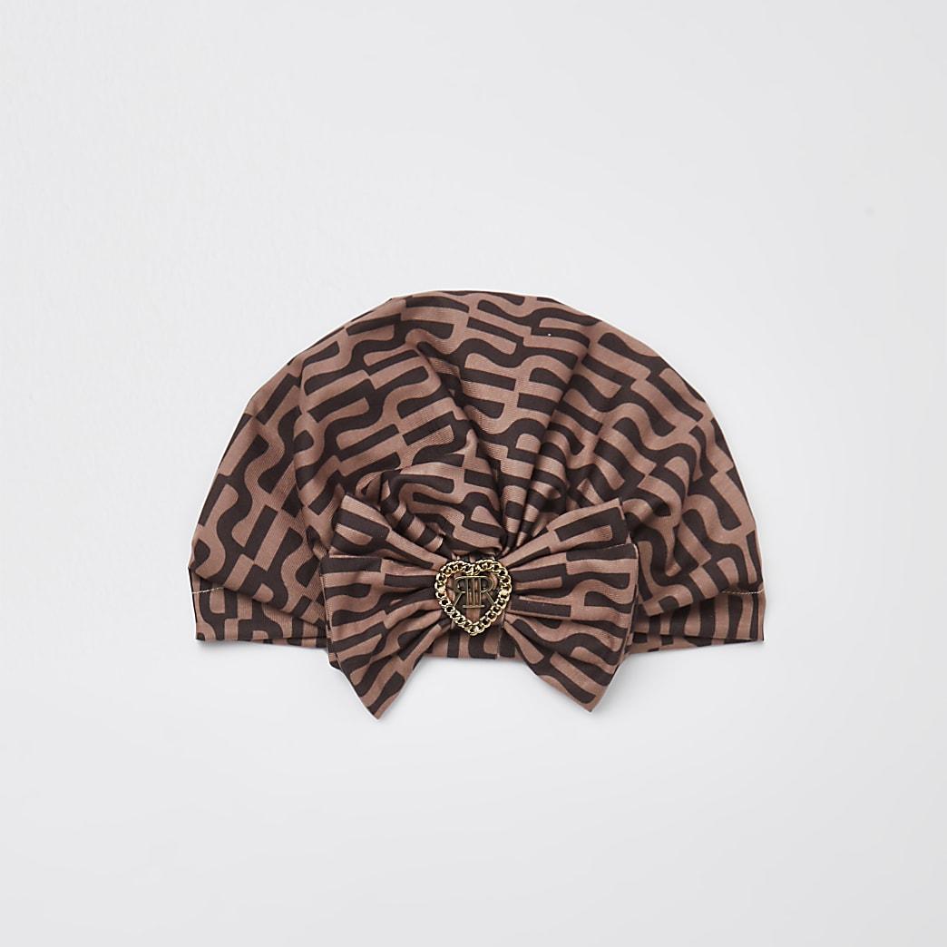 Girls brown RI print bow turban