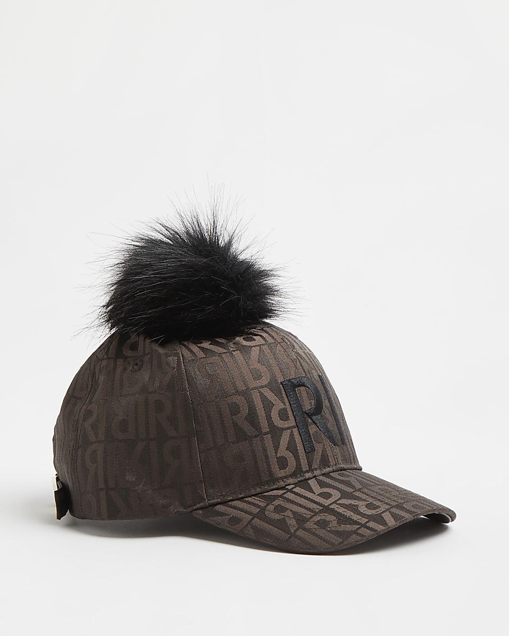 Girls brown RI satin pom pom cap