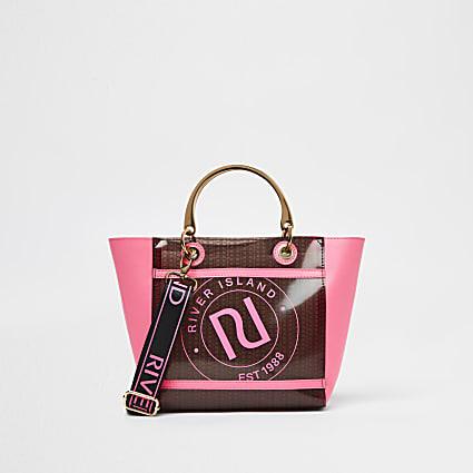 Girls brown RI vinyl winged tote bag