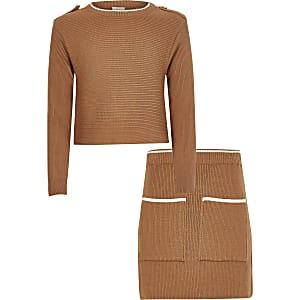 Braunes Pullover-Outfit aus Rippstrick für Mädchen