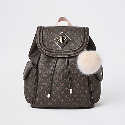 Girls brown RIR monogram backpack