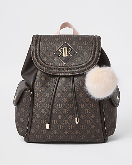 Girls brown RIR monogram backpack