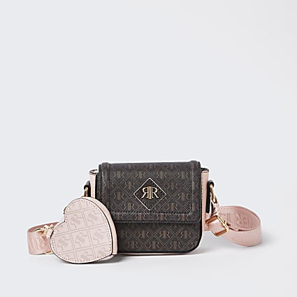 Girls brown RIR monogram cross body bag