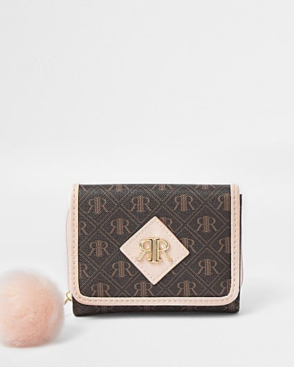 Girls brown RIR print fold out purse