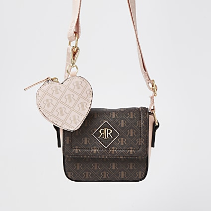 Girls brown RIR print heart cross body bag