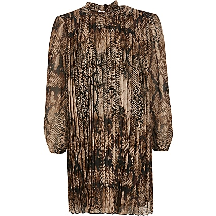 Girls brown snake printed pleated swing dress