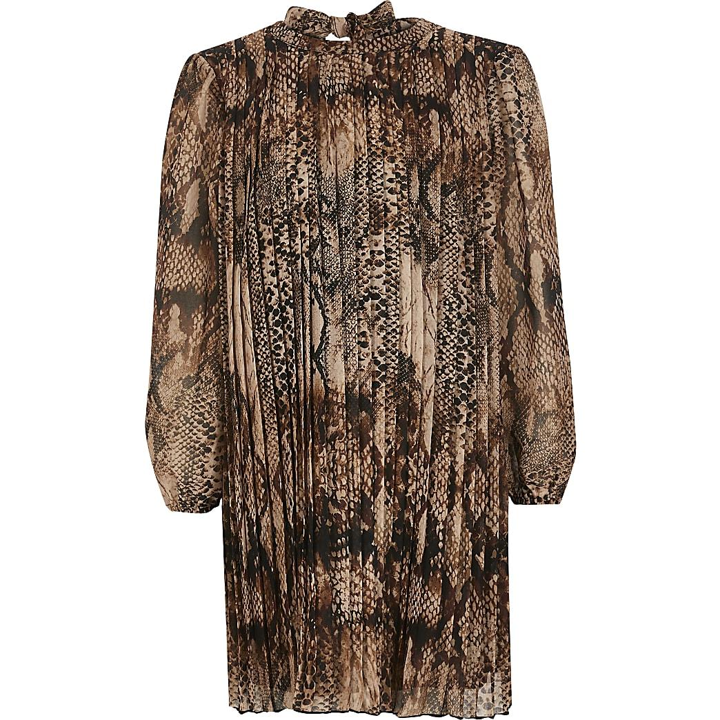Girls brown snake printed pleated swing dress
