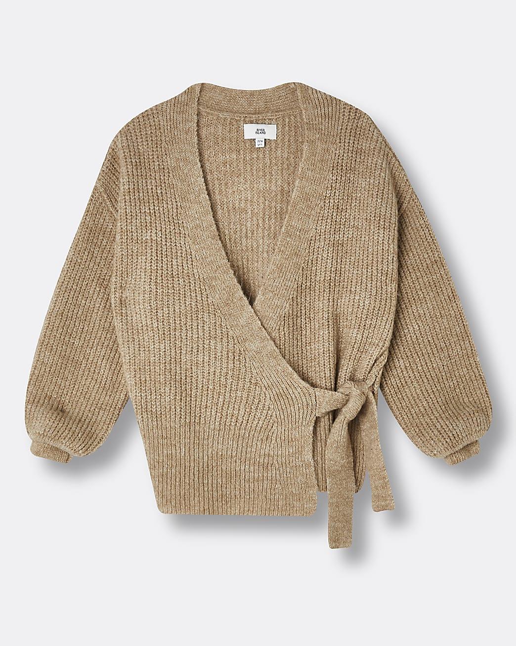 Girls brown tie waist knit cardigan