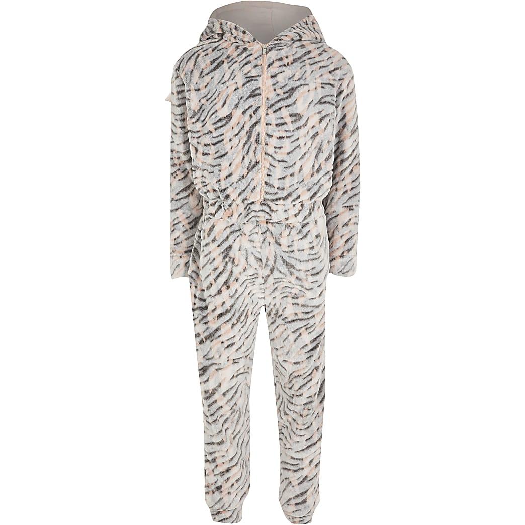 Girls brown tiger print fleece onesie