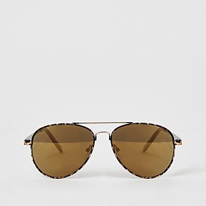 Girls brown tortoiseshell aviator sunglasses