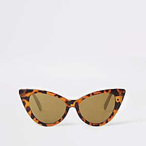 Braune Cateye-Sonnenbrille mit Schildpattmuster