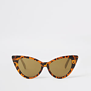 Bruine zonnebril met schildpadprint en kattenoogmontuur voor meisjes