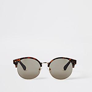 Braune, runde Schildpatt-Sonnenbrille für Mädchen